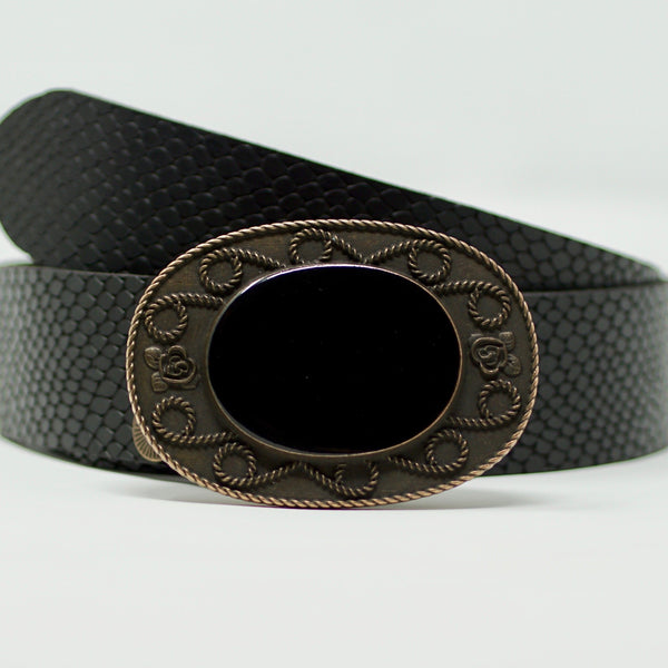 Indochine Belt in Black Snake