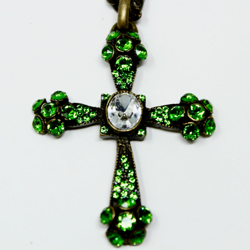 Green Swarovski Gothic Cross