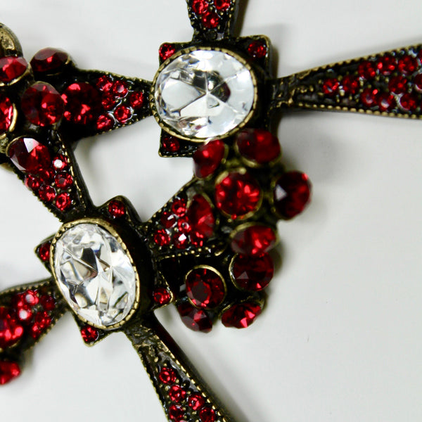 Red Swarovski Gothic Cross - BARCELONADOGS