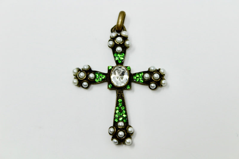 Green Swarovski Gothic Cross - BARCELONADOGS