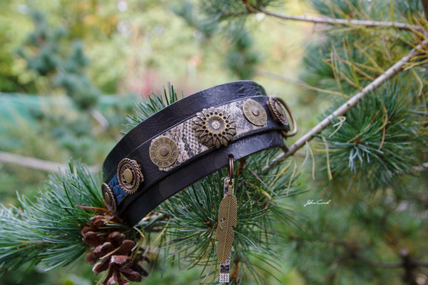 Sioux One Feather Dog Collar