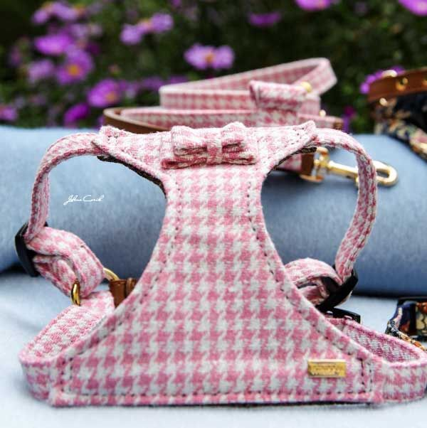 Pink Houndstooth Harness - BARCELONADOGS
