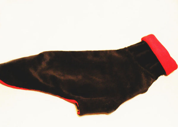 XS Italian Greyhound coat in black faux fur