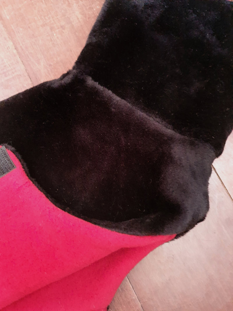 Italian Greyhound coat in black faux fur