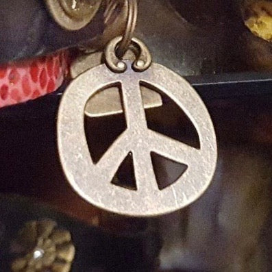 Silver Peace Sign Dog Charm