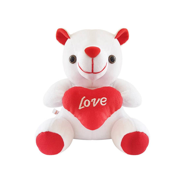 White Love Teddy Bear Stuffed Toy with Love Heart 6 Inches