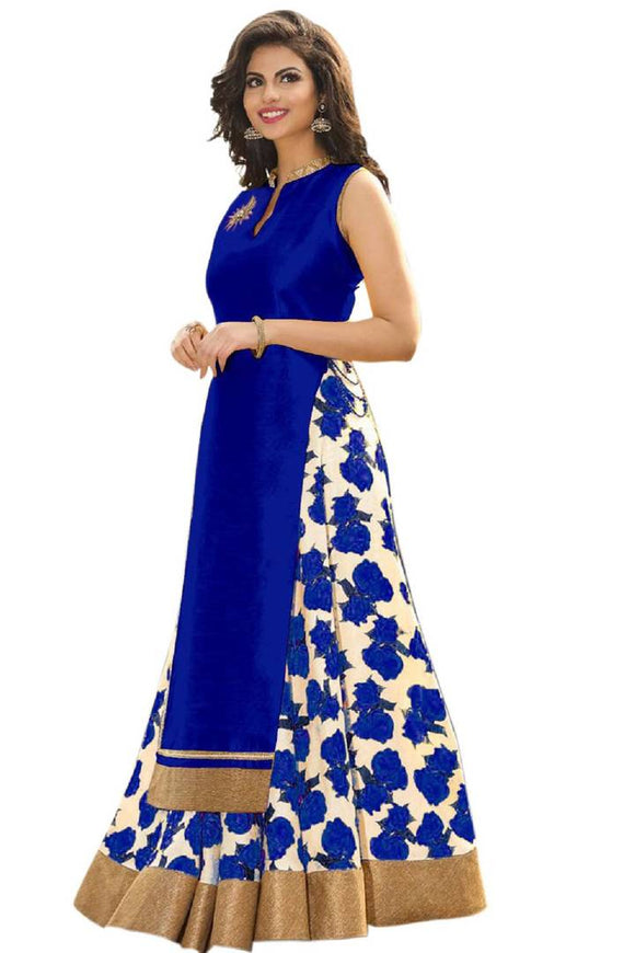 Blue Floral Printed Art Silk Lehenga Choli Semi Stitched