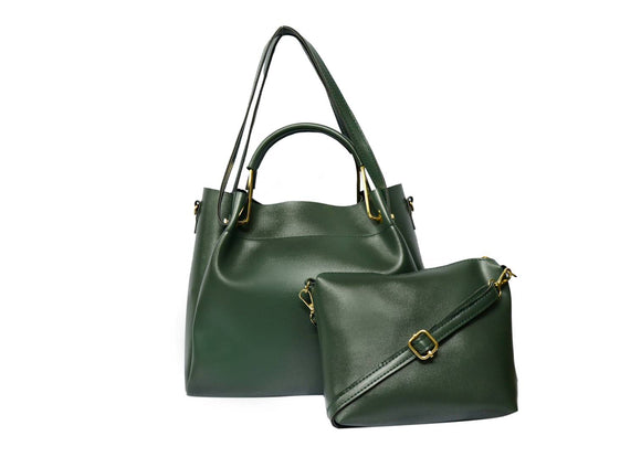 Green Solid  Handbag with Sling Bag