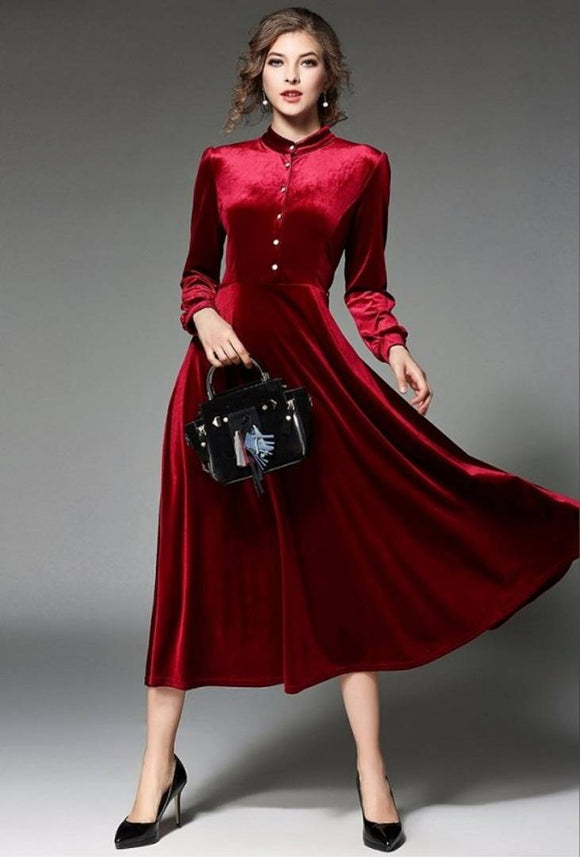 Women Maroon Buttoned Velvet Long Dress