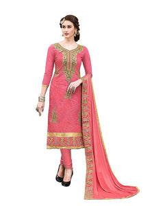 Peach Embroidered Dress Material with Dupatta