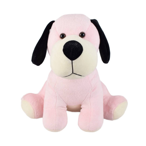 Cute Sitting Dog Soft Toy 12 Inches Baby Pink