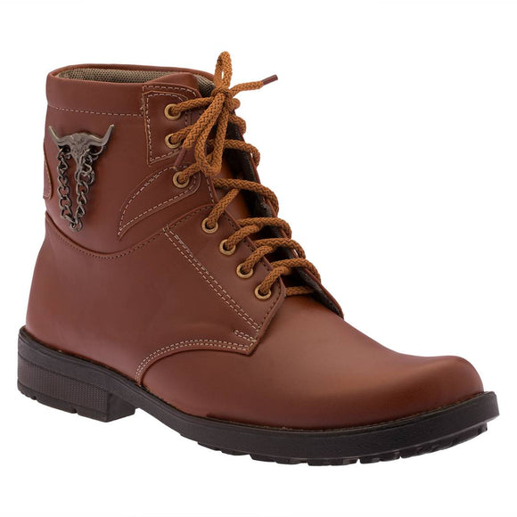 Tan Heeled Synthetic Leather Boots For Men