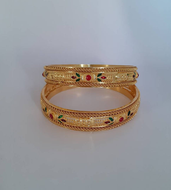 gold plated pair of bangles for girls and women