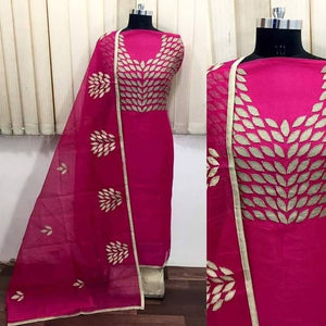Pink Chanderi Silk Embroidered Dress Material with Dupatta