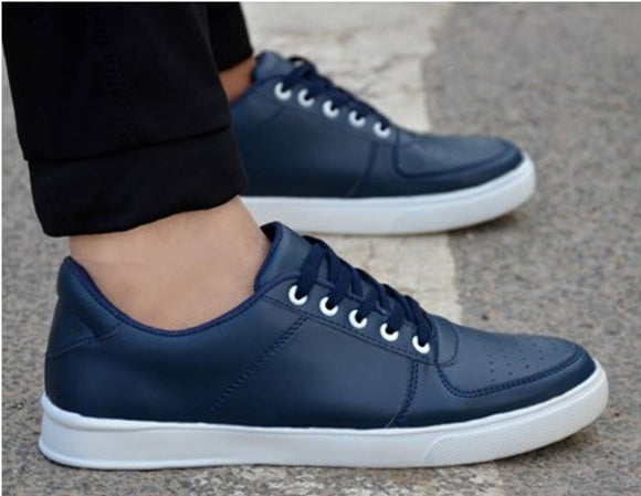 Men's Blue Synthetic Leather Solid Sneakers