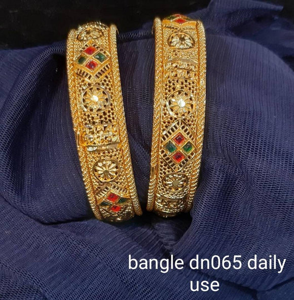 Women's Rajasthani Gold Pleated Ethnic Patla / Kada Bangles