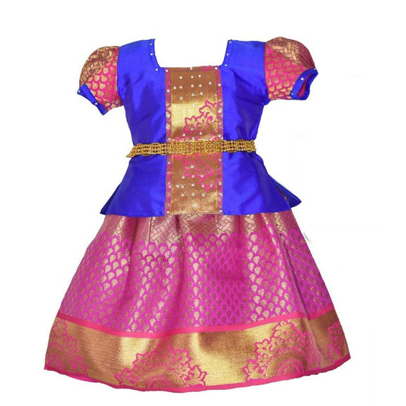 Flawless Pink Embroidered Silk Blend Girl's Lehenga Cholis