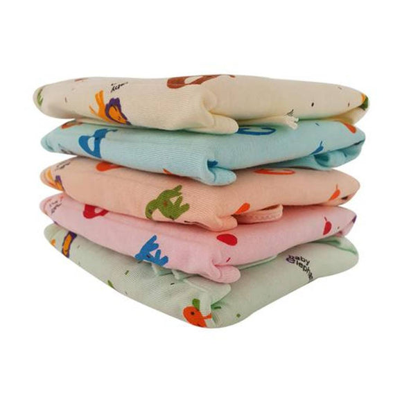 New Born Baby Cotton Hosiery Padded Premium Quality U Shape Nappies, Langot Washable Reusable Cotton Nappy (0-3 Month , Medium Size) Print & Color May Vary