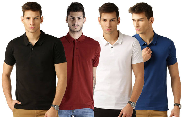 Men's Multicoloured Cotton Blend Solid Polos T-Shirt (Pack Of 4)