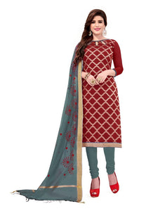 Maroon Embroidered Brocade Dress Material with Dupatta