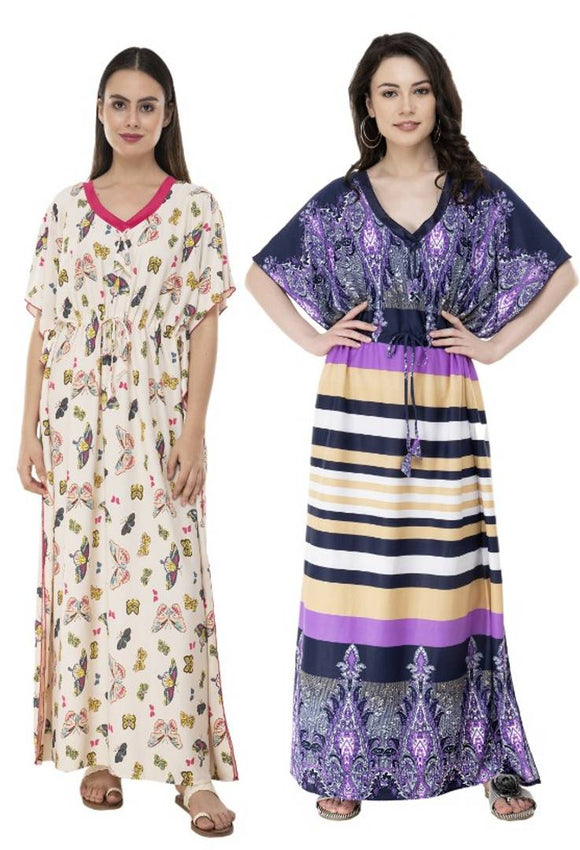 Printed Kaftaan Night Gown Combo 2