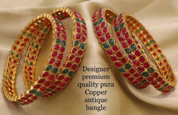 Gold Plated Designer Traditional Bangle Set For Women