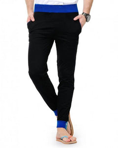 Men's Black Cotton Blend Solid Regular Fit Joggers