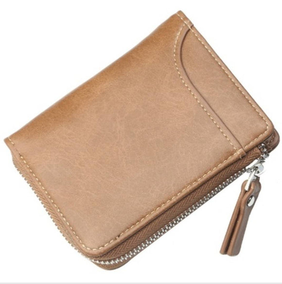 Classy Tan Solid Leather Zip Around Wallet For Men