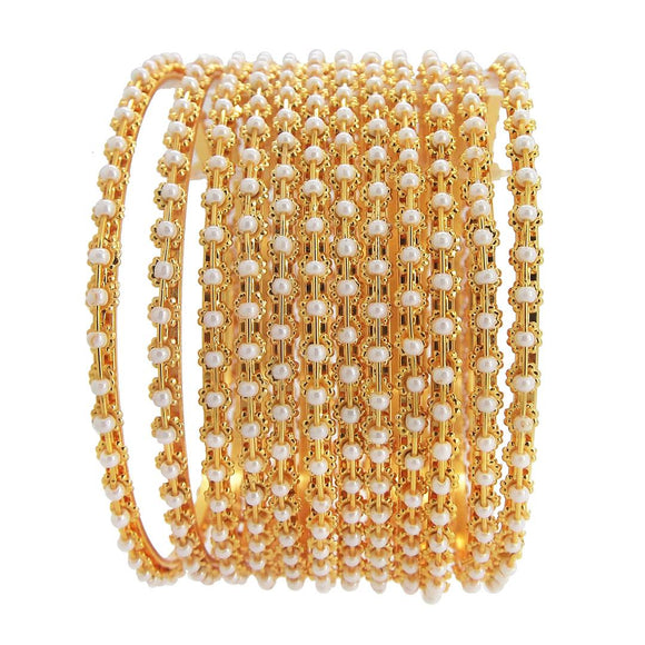 Sleek Gold Plated 12pc White Beads Bangle