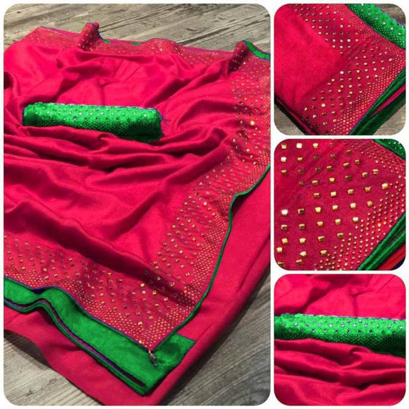 Beautiful Poly Silk Saree with Blouse piece