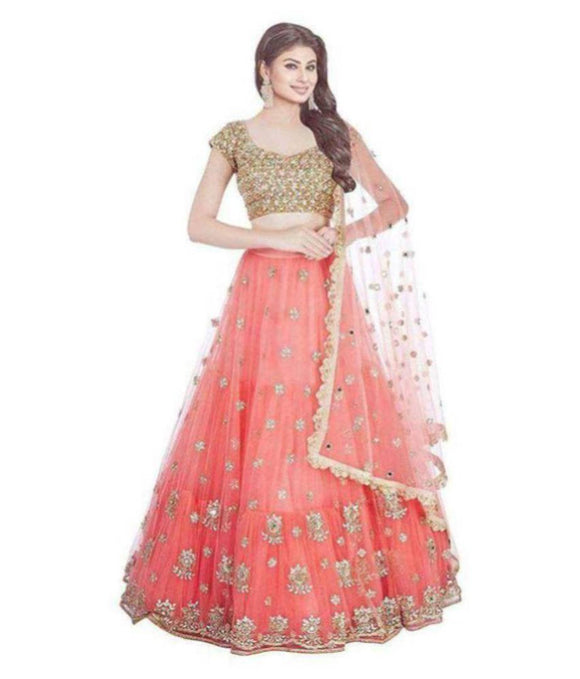 Designer Orange and golden Colour  Net Material  Lehenga choli For Women And Girls