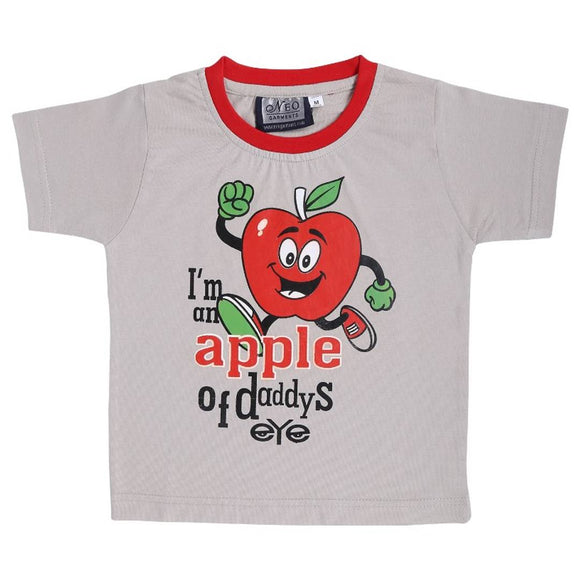 Kid's Boys & Girls Round Neck Cotton T-shirt | APPLE OF DADDY'S EYE | (CEMENT) | Sizes- S-23