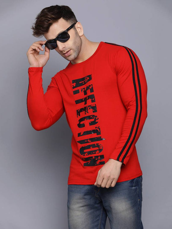Red Printed Cotton Round Neck T Shirt