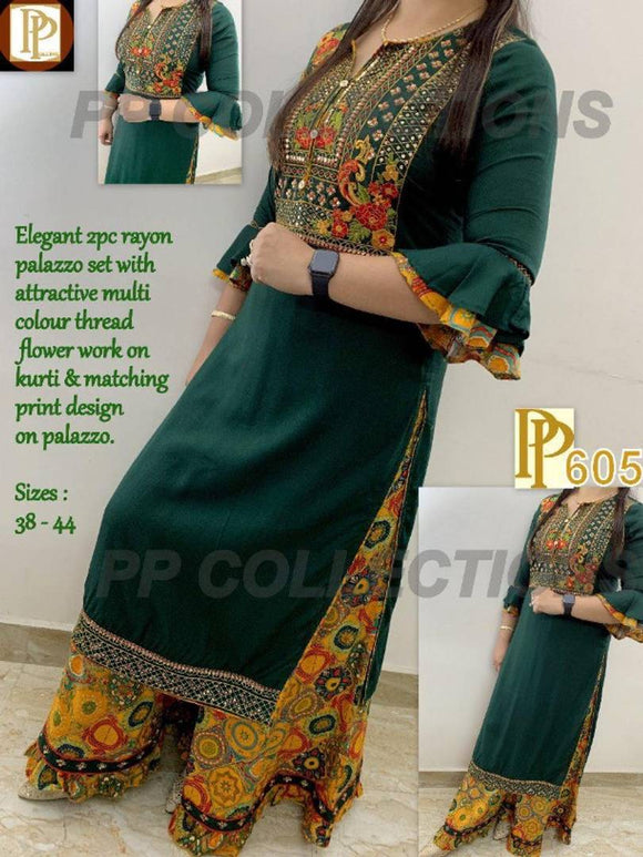 Designer Rayon Embroidered Kurti And Palazzo Set