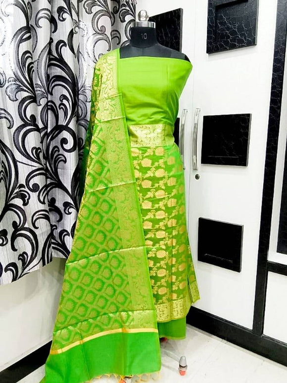 Modern Cotton Silk Jacquard Work Dress Material With Dupatta