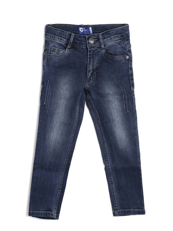 Stylish Denim Navy Blue Dyed Regular Fit Jeans For Boys