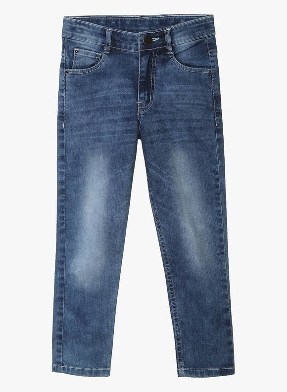 Stylish Denim Blue Dyed Regular Fit Jeans For Boys