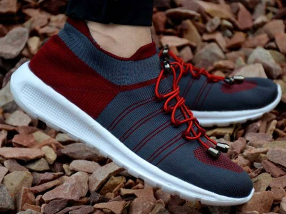 Men's Red Mesh Solid Sneakers