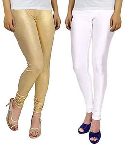 Stylish Cotton Spandex Solid Leggings ( Pack Of 2 )
