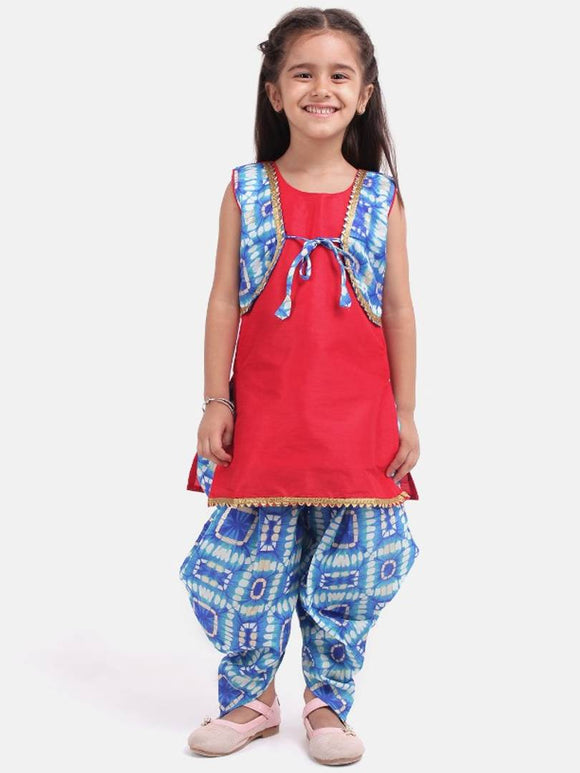 Attached Jacket Kurti Dhoti For Baby Girls