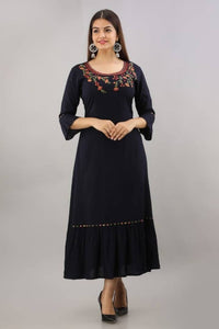 Rayon Embroidered Flared Indo-Western Dress
