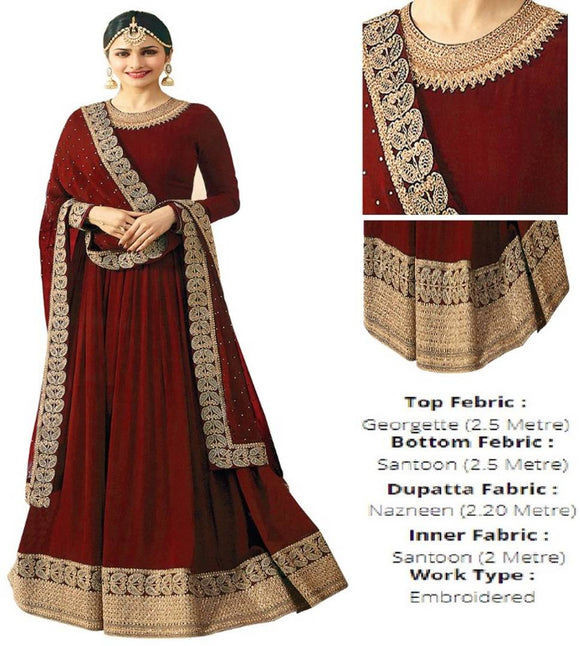 Designer Red Georgette Embroidered Ethnic Salwar Suit