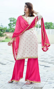 Embroidery Work Kurti with Palazzo Pants and Chiffon Dupatta Set