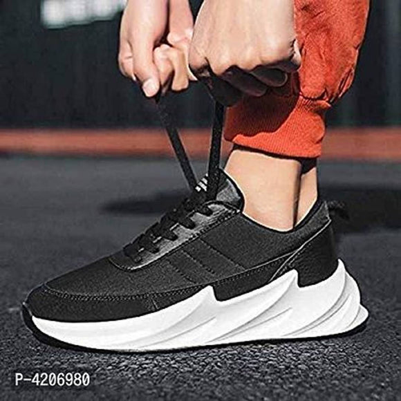 Trendy color black sports Sneakers Men Mesh Breathable Shoes  Mens