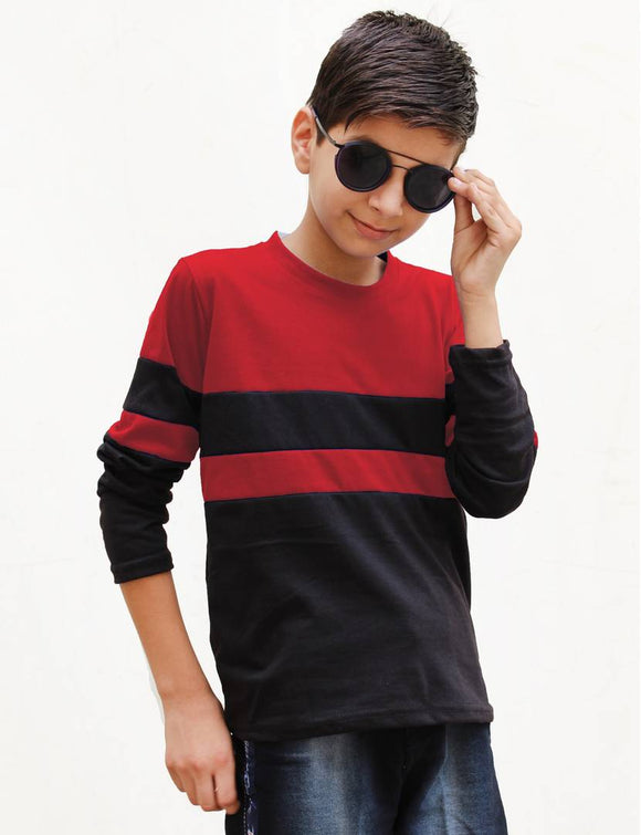 Classy Multicoloured Cotton Colourblocked T-Shirt For Boys