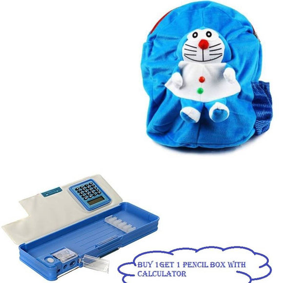 Doraemon Character Blue School Bag For Baby School Bag School Bag (Blue, 12 Inch) & Cartoons/Characters With Calculator Art Plastic Pencil Box COMBO( PACK OF 2)
