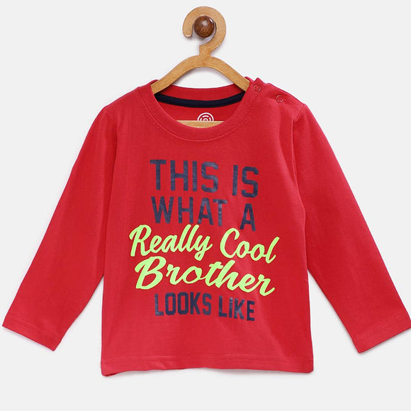 Stylish Cotton Printed Red Full Sleeves Round Neck T-shirt For Boys
