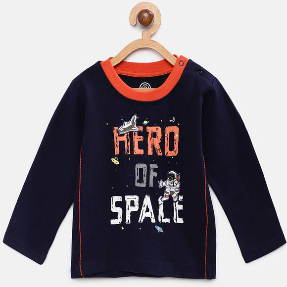Stylish Cotton Printed Navy Blue Full Sleeves Round Neck T-shirt For Boys