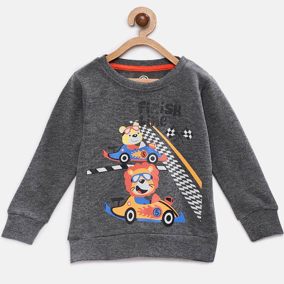 Stylish Cotton Printed Grey Full Sleeves Round Neck T-shirt For Boys
