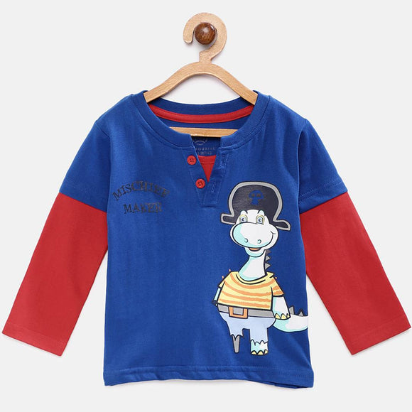 Stylish Cotton Printed Blue Full Sleeves Round Neck T-shirt For Boys